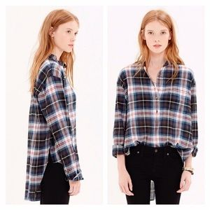 Madewell collarless popover in Wheaton Plaid